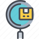 box, product, search, shipping, track icon
