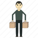 box, delivery, deliveryman, loader, logistics, worker icon