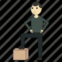 carton boxes, courier, delivery, deliveryman, logistics icon