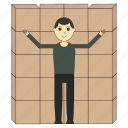box, delivery, deliveryman, goods, logistics, worker icon
