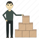 box, delivery, deliveryman, goods, logistics, man icon