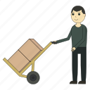 box, cart, delivery, deliveryman, logistics, shipping, worker icon