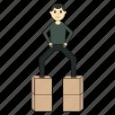 carton boxes, goods, logistics, rejoice, worker icon