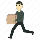 box, delivery, deliveryman, logistics, worker icon