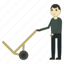cargo, cart, delivery, deliveryman, loader, logistics, shipping icon