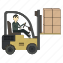 cargo, delivery, forklift, loader, logistics, shipping, truck icon