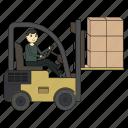 forklift, loader, logistics, truck, carrier, carton boxes