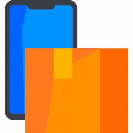 app, box, delivery, logistic, package, phone, track icon