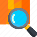 box, deliver, delivery, find, magnifier, search, zoom icon