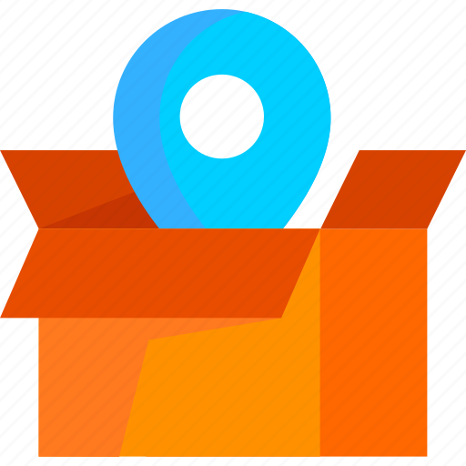address, box, delivery, location, logistic, package icon