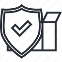 approved, box, delivery, insurance, logistic, package, shield icon
