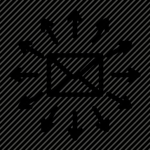 arrow, deliver, distribution, envelope, letter, mail, spread icon
