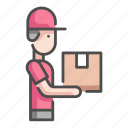 box, delivery, logistic, man, package, people, service icon
