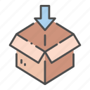 arrow, box, delivery, logistic, pack, packaging, product icon