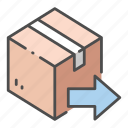 arrow, box, business, delivery, logistic, package, sent icon