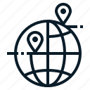 address, delivery, globe, location icon