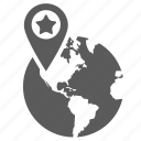 earth, globe, location, logistics, navigation, pin, place icon
