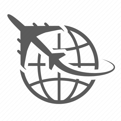 aircraft, delivery, earth, globe, logistics, shipment shipping traffic transport, transportation icon