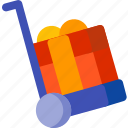 birthday, gift, holiday, present, shopping, trolley, xmas icon