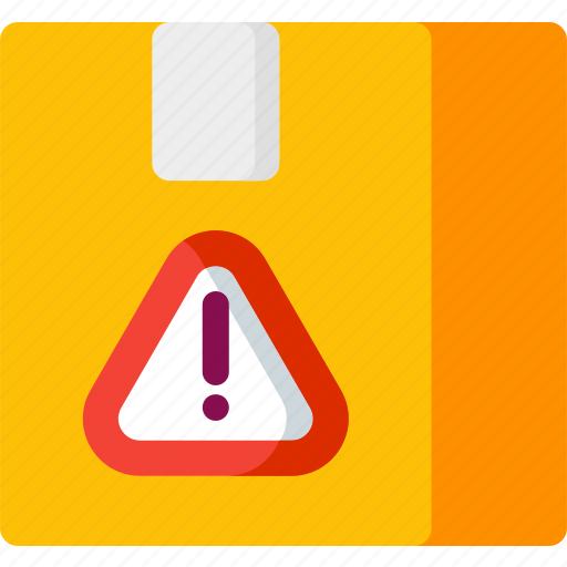 alert, attention, box, delivery, error, package, warning icon