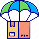 box, delivery, parachute, shipping icon