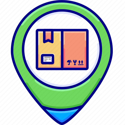 delivery, gps, package, trackinglocation, vectoryland icon