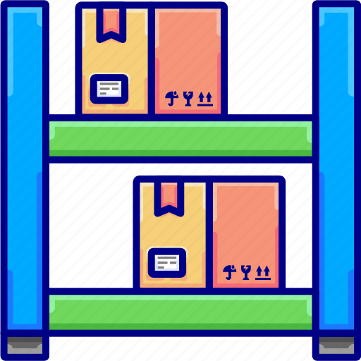 boxes, for, goods, luggage, shelves, vectoryland, warehouses icon