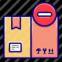 box, cancel, reduce, shipments, shipping, vectoryland icon