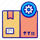 arrangement, customize, delivery, gear, goods, rules, vectoryland icon