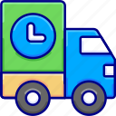 delay, delivery, shipping, transport, truckdelayed, vectoryland icon