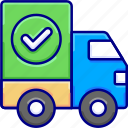 checklist, delivery, shipping, transport, trucksuccessful, vectoryland icon