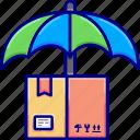 insurance, rain, umbrella, vectoryland icon