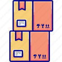 boxes, many, shipments, shipping, stack, vectoryland icon