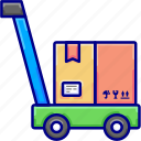 delivery, package, shipping, trolly, vectoryland icon