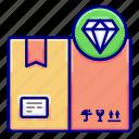 box, diamond, quality, vectoryland icon
