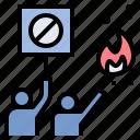 demonstrate, disorder, protestor, rebellion, riot icon