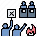 demonstrate, fight, protest, riot, strike icon