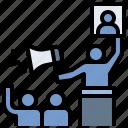 announce, candidate, democracy, opinion, vote icon