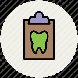 clipboard, clipboards, medical, prescription, prescriptions, report, tooth icon