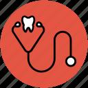 doctor, healthcare, medical exam, phonendoscope, stethoscope, stethoscope with dental icon