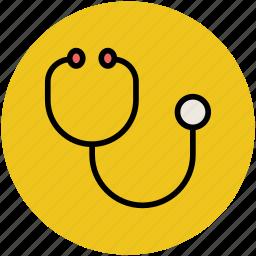 cardiac, cardiology, doctor, medical equipment, medical exam, phonendoscope, stethoscope icon