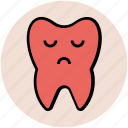 cartoon tooth, dental disease, funny, sad tooth, tooth sad face, unhealthy, unhealthy tooth concept icon