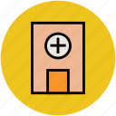 clinic, dispensary, hospital, medical building, medical centre, nursing home, sick bay icon