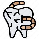 decay, dental, medical, tooth, worm icon