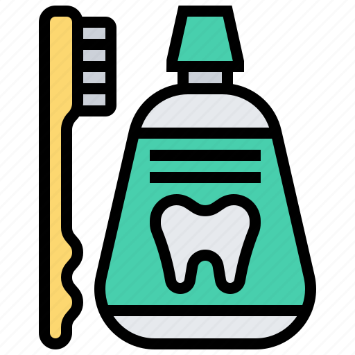 dental, healthcare, medical, mouthwash, toothbrushes icon
