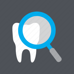 dental, dental inspection, dentist, health, magnifying glass, medical, tooth icon