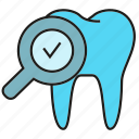 care, check, dental, magnifier, stomatology, tooth icon
