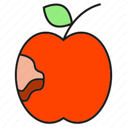 apple, caries, decayed tooth, fruit icon