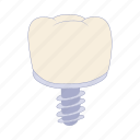 cartoon, clean, dental, dentist, gum, implant, tooth icon