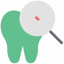 check, decay in a tooth, dental, magnifier, magnifying, molar, research icon